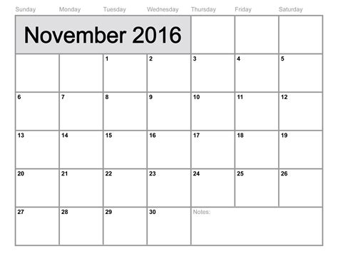 november 2016 calendar printable template 8 templates