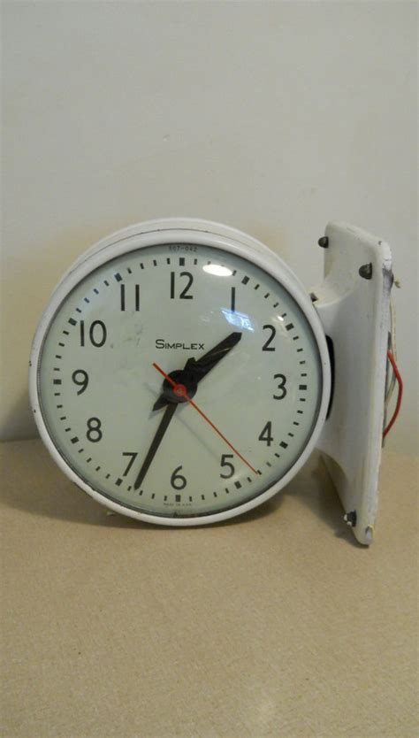 60s clock industrial decor clock very heavy white iron large