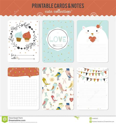 personal note cards template set of cards notes and stickers with stock vector