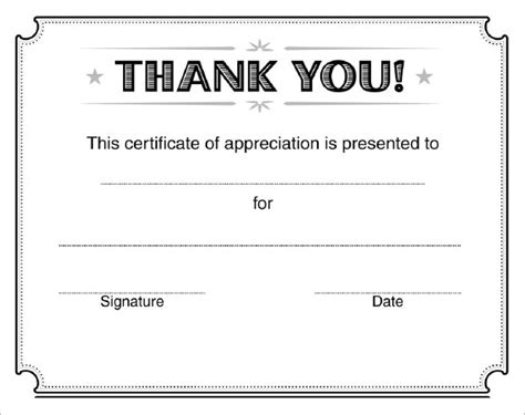certificate of appreciation free template 9 certificate of appreciation templates free sles