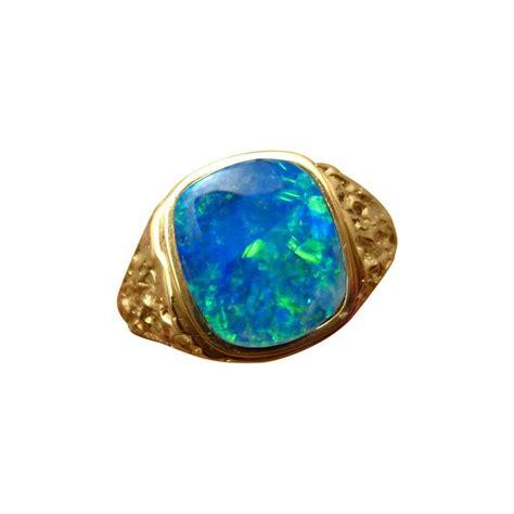 blue green opal mens opal ring square blue green natural gem flashopal