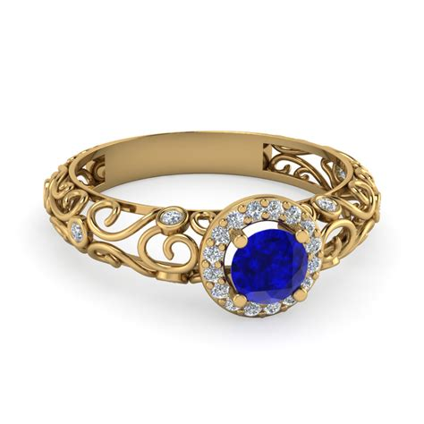 bezel filigree halo blue sapphire engagement ring