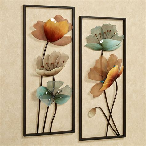 Home Decor Wall Clock tuscany in bloom floral metal wall art set