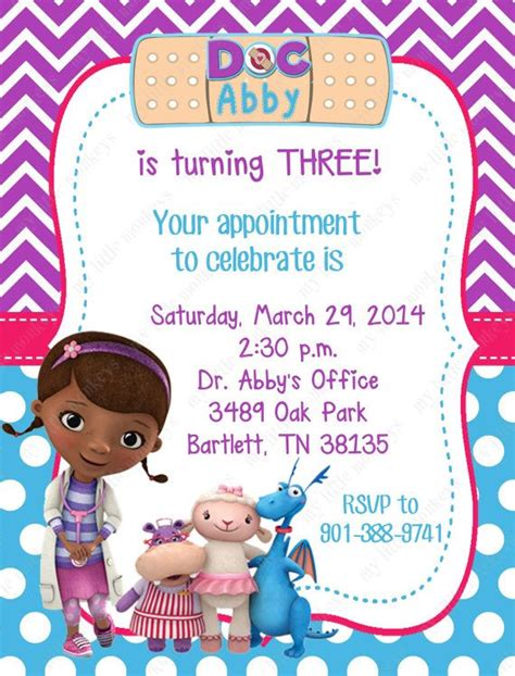 10 Doc Mcstuffins Invitations With Envelopes By Bethcloud723 7 99 Bray S 2nd Birthday Doc Invitation Template