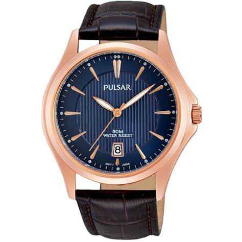 pulsar s gold brown leather watches