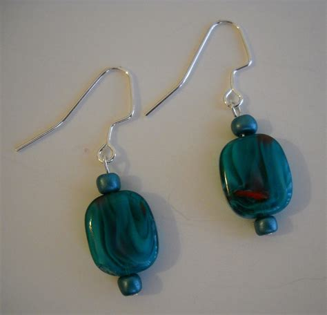Handmade Beaded Earrings - turquoise blue glass earrings handmade beaded