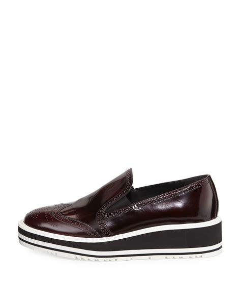 platform loafers lyst prada polished leather platform loafers in brown