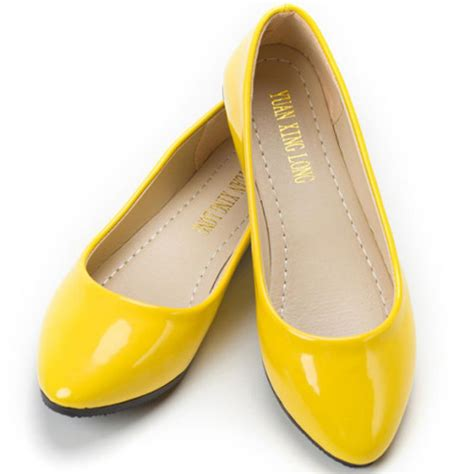 flat yellow shoes wholesale yellow shoes solid color shoes flats