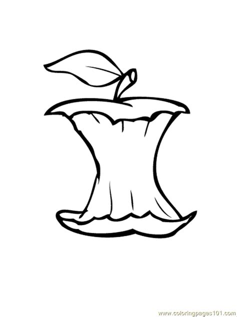 Apple Core Coloring Page | coloring pages apple core food fruits gt apples free