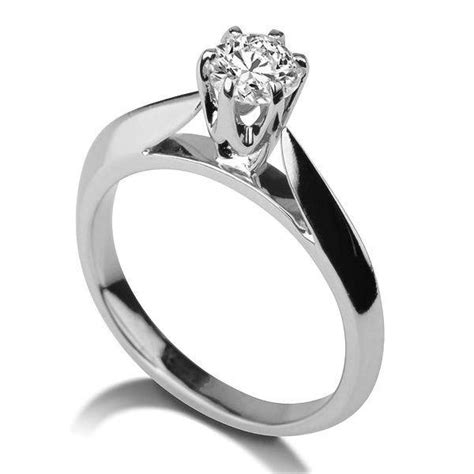 cathedral ring 14k white gold ring solitaire
