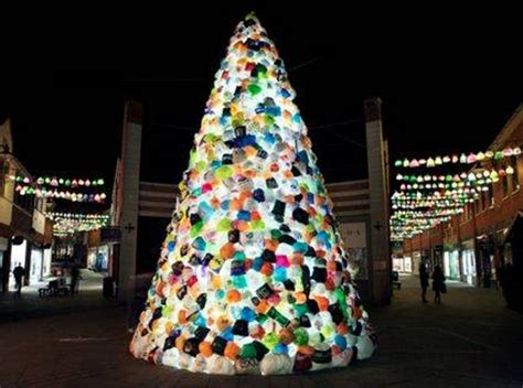 christmas tree in durham england is made from plastic