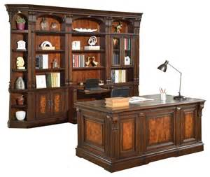 Traditional Home Office Furniture Corsica 6 Library Bookcase And Executive Desk Traditional Home Office Furniture By