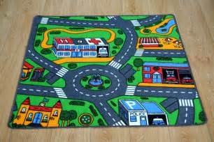 bedroom car play mat rug 100cm x 94cm car racing road