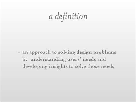 design need definition a definition an approach