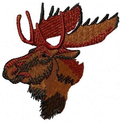 embroidery design moose custom moose head embroidery design by ice purple penguin