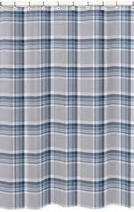 Grey Plaid Curtains Navy Blue And Grey Plaid Boys Bathroom Fabric Bath Shower Curtain Only 39 99