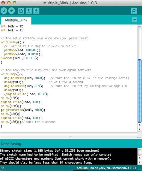 code arduino blink multiple blinking led on the arduino 4 steps