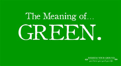in the green meaning what s green mean to you redeem your ground rygblog com