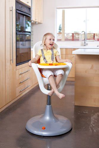 boon flair pedestal highchair with pneumatic lift white orang
