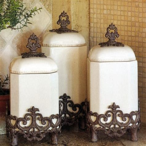 stainless steel fleur de lis finials canister set kitchen 4pc tuscan silver new ebay old world canisters old world decorating pinterest