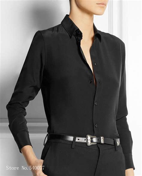 Black Blouse Sleeve Womens by S Xxxl Fashion Silk Satin Blouse Button Silk