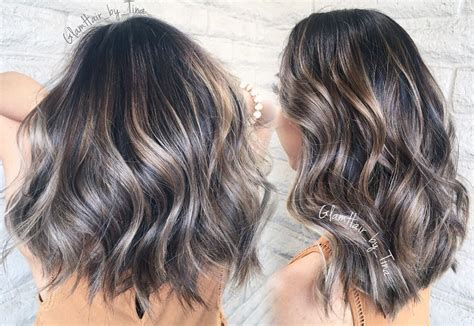 short haircuts brunettes with gray highlights ashy blonde brown silver balayage constanceyo hair