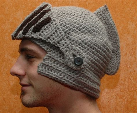 crochet pattern knight helmet free hand crocheted knight helmet hat with button on movable visor