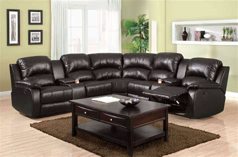 Leather Sofas Aberdeen by Aberdeen Black Bonded Leather Match Reclining Sectional