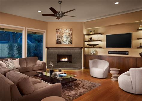living room with fireplace and tv floating shelves next to fireplace family room contemporary with built i cabinets wood floor
