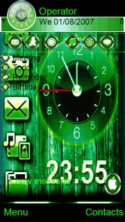 green themes clock download green clock nokia theme mobile toones