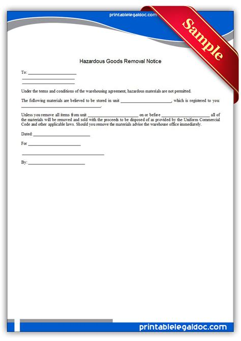 Lease Removal Letter Free Printable Hazardous Goods Removal Notice