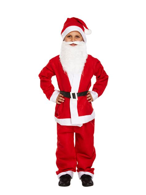 kids santa suit beard father christmas fancy dress boys