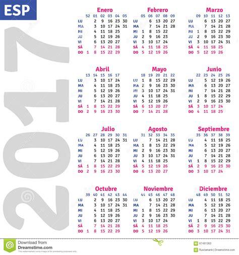 Calendario N Giorni Calendario Espa 241 Ol 2017 Ilustraci 243 N Vector Imagen