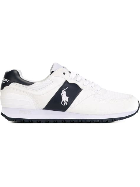 white polo shoes lyst polo ralph paneled lace up sneakers in white
