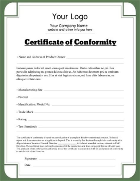 Certificate Of Conformance Template Free certificate of conformity templates pageprodigy print