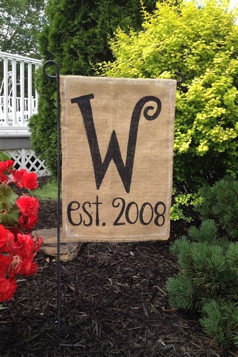 garden flags burlap garden flag with monogrammed initial and year