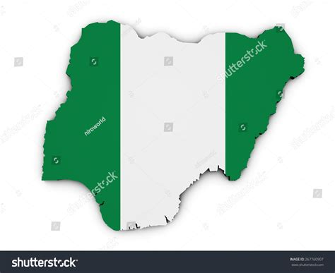 Nigeria Address Lookup Shape 3d Of Nigeria Map With Flag Illustration Isolated On White Background