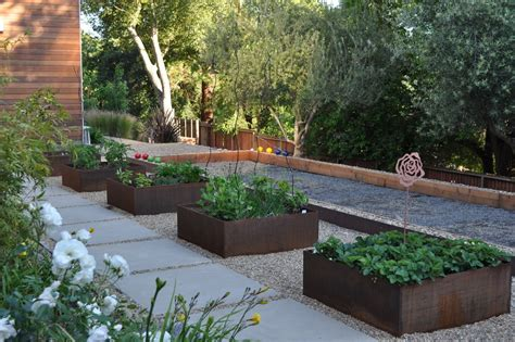 modern garden planters corten steel planters landscape contemporary with none