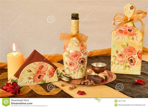 Decoupage Objects - decorated with decoupage household items stock photo