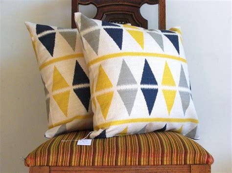 Navy And Grey Throw Pillows Navy Blue Gray Yellow Ikat Pillow Throw 18 X 18 Triangle