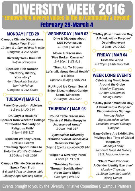 Diversity Calendar Celebrate Diversity Week 2016 At Roosevelt Feb