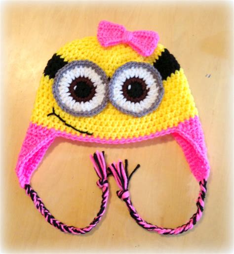 crochet pattern pink minion crochet girl minion bow earflap hat one and by