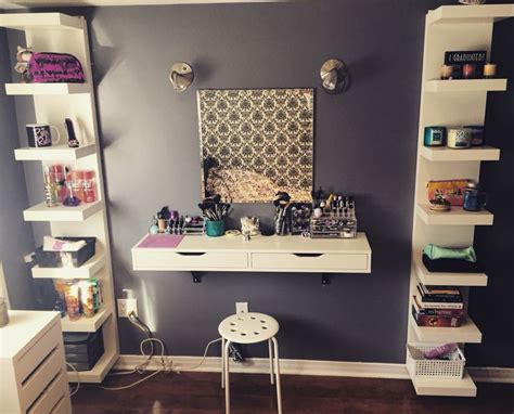 Shelf For Makeup by Ikea Space Saving Vanity Makeup Ekby Lack Ikea Shelf Organization Homes And