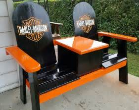 harley davidson bench harley bench with a cooler porch benches pinterest