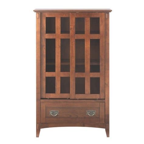 Multimedia Cabinet With Doors Home Decorators Collection 31 In W Artisan Multimedia Cabinet In Oak With Glass Doors