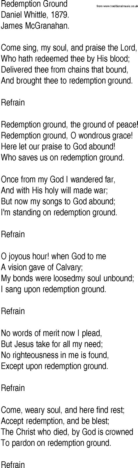 Pdf Song Redemption Chronicles by Hymn And Gospel Song Lyrics For Redemption Ground By