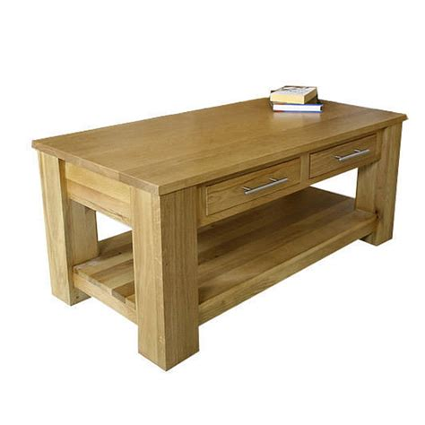 Oak Coffee Tables With Drawers 50 Solid Oak Coffee Table With Shelf Drawers Delamere