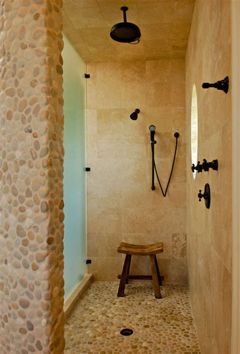 Bambi Wall Mural tan amp white pebble tile shower floor amp accent pebble