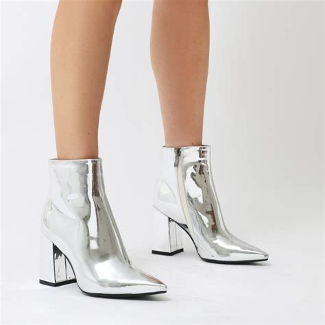 silver boots empire pointed toe ankle boots in silver metallic