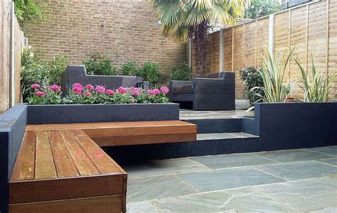 patio beds modern garden design london natural sandstone paving patio